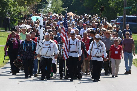 A mile-long procession from the John Stewart United Methodist Church to the Old Mission Cemetery in Upper Sandusky took place on Saturday September 21,2019. Well over 500 people attended the ceremony.
