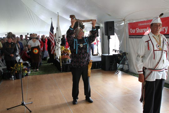 Chief Billy Friend, Wyandotte Nation of Oklahoma, performs the peace pipe ceremony.