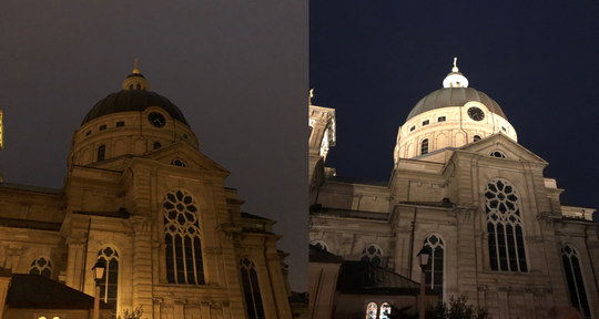 The Basilica of St. Josaphat is seen before and after the ceremony Saturday night switched on 26 points of light to illuminate the 220-foot-tall copper dome. The basilica, built in 1901 by Polish immigrants, is a city landmark and recently underwent extensive restoration efforts.