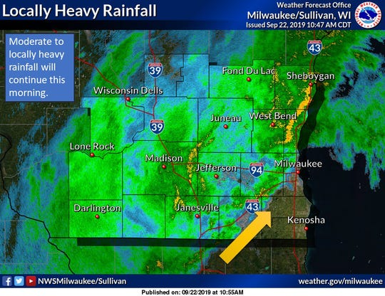 Moderate to locally heavy rainfall will continue Sunday morning.
