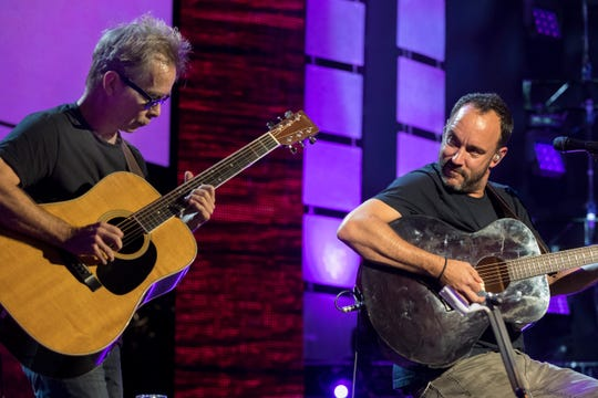 Dave Matthews, right, and Tim Reynolds perform at Farm Aid Saturday, Sept. 21, 2019, at Alpine Valley Music Theatre in East Troy, Wis.