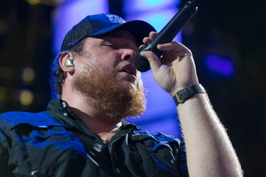 Country star Luke Combs performs at Farm Aid Saturday, Sept. 21, 2019, at Alpine Valley Music Theatre in East Troy, Wis.