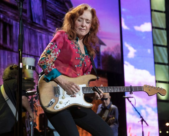 Bonnie Raitt performs at Farm Aid Saturday, Sept. 21, 2019, at Alpine Valley Music Theatre in East Troy, Wis.
