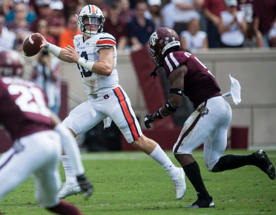 Auburn quarterback Bo Nix (10) passes the ball at Kyle Field in College Station, Texas, on Saturday, Sept. 21, 2019. Auburn defeated Texas A&M 28-20.