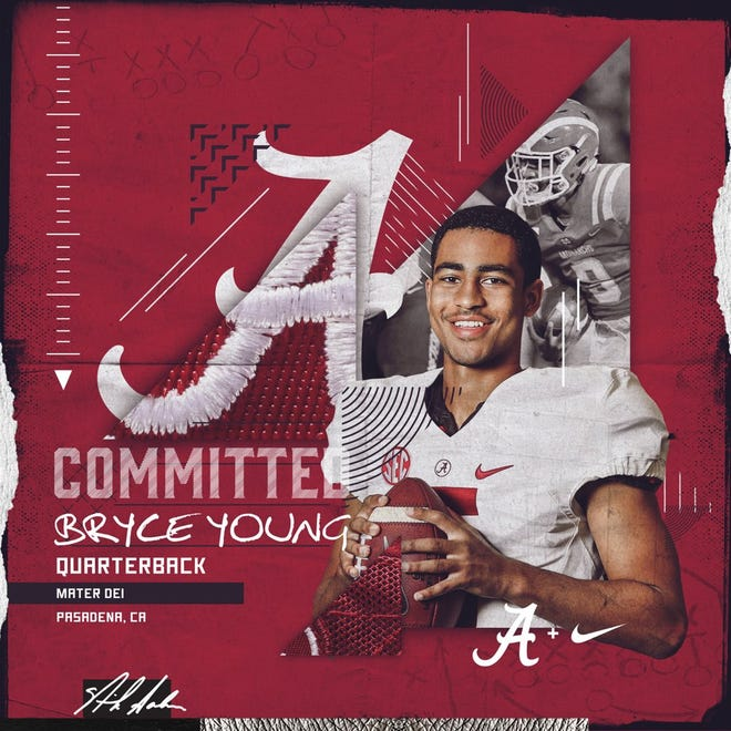 Mater Dei (California) High quarterback Bryce Young, the nation's No. 1 dual-threat prospect in the 2020 class, verbally flipped his commitment from Southern Cal to Alabama on Sunday, Sept. 22, 2019, with this image uploaded to his personal Twitter account. (Courtesy photo)