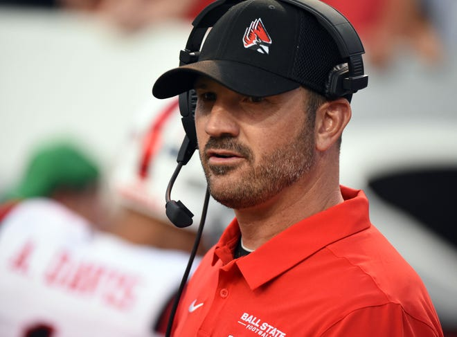 Sep 21, 2019; Raleigh, NC, USA; Ball State Cardinals head coach Mike Neu during the first half against the North Carolina State Wolfpack  at Carter-Finley Stadium. Mandatory Credit: Rob Kinnan-USA TODAY Sports