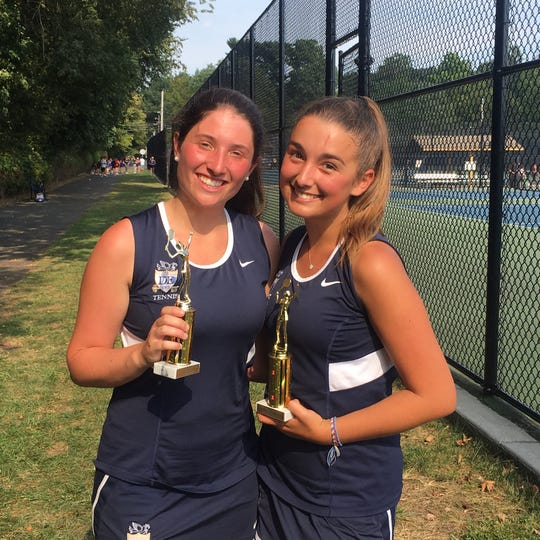 Dwight Englewood's Caroline Yaffa, left, and Gabby Lo Bue, Small schools first doubles champions.