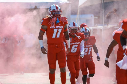 The New Mexico State University Aggies face off against the University of New Mexico Lobos at Dreamstyle Stadium in Albuquerque on Saturday, Sept. 21, 2019.