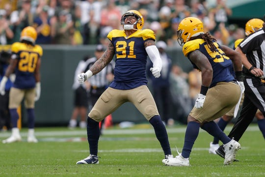 Green Bay Packers outside linebacker Preston Smith (91) reacts after sacking Denver Broncos quarterback Joe Flacco (5) during their football game Saturday, September 22, 2019, at Lambeau Field in Green Bay, Wis.Joshua Clark/USA TODAY NETWORK-Wis.