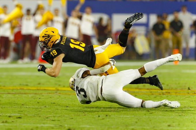 Arizona State Wide Receiver Ricky Pearsall gets tackled by Colorado Safety Derrion Rakestraw in the second half of their matchup in Tempe, AZ on September 21, 2019.