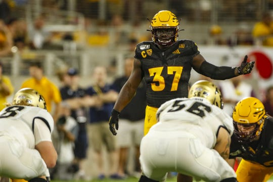 ASU linebacker Darien Butler studies the Colorado offense during the first half of a game Sept. 21 at Sun Devil Stadium.