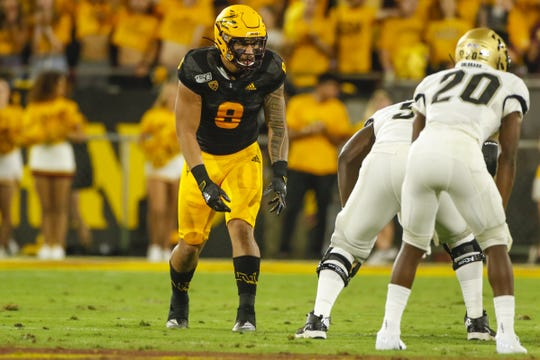Arizona State Linebacker Merlin Robertson looks at the Colorado offense during the first half of their game  in Tempe, AZ on September 21, 2019.