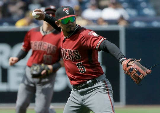 Arizona Diamondbacks third baseman Eduardo Escobar (5) throws out San Diego Padres' Manuel Margot on a ground ball during the first inning of a baseball game in San Diego, Sunday, Sept. 22, 2019.