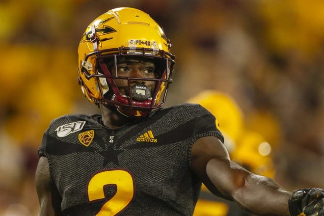 Arizona State Wide Receiver Brandon Aiyuk looks to the sideline during the first half of their game against Colorado University in Tempe on Sept. 21, 2019.