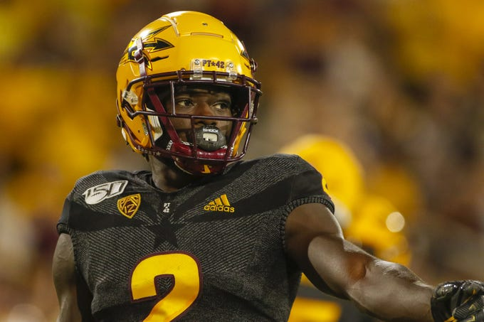 Arizona State Wide Receiver Brandon Aiyuk looks to the sideline during the first half of their game against Colorado University in Tempe, AZ on September 21, 2019.