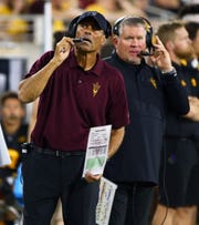 Arizona State Sun Devils head coach Herm Edwards against Colorado Buffaloes in the first half during a game on Sep. 21, 2019 in Tempe, Ariz.