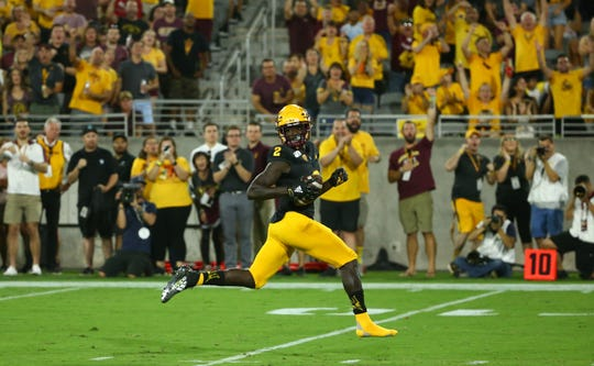 Arizona State Sun Devils wide receiver Brandon Aiyuk (2) scores a touchdown against the Colorado Buffaloes in the first half during a game on Sep. 21, 2019 in Tempe, Ariz.