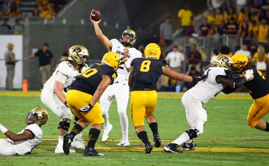 Colorado Buffaloes quarterback Steven Montez (12) throws a pass against the Arizona State Sun Devils in the second half during a game on Sep. 21, 2019 in Tempe, Ariz.