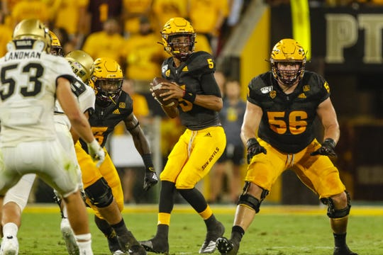 Arizona State Quarterback Jayden Daniels drops back to pass during the first half against Colorado University in Tempe, AZ on September 21, 2019.