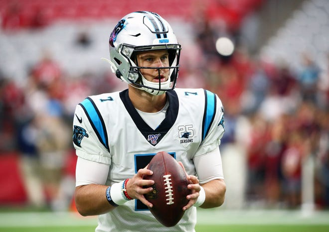 Carolina Panthers starting quarterback Kyle Allen (7) during pre-game warm up against the Arizona Cardinals during a game on Sep. 22, 2019 in Glendale, Ariz. Kyle Allen played at Scottsdale Desert Mountain High School.
