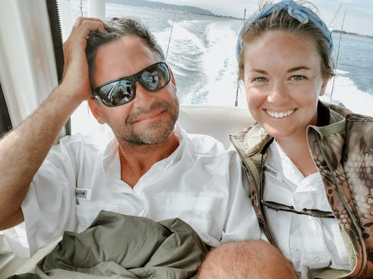 Jenna Evans relaxes on a boat with her fiance, Bob Howell. He was very supportive when she accidentally swallowed her diamond engagement ring, and their wedding next May is still on. (Courtesy Jenna Evans/TNS)