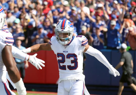 Bills safety Micah Hyde celebrates a defensive stop against the Bengals.