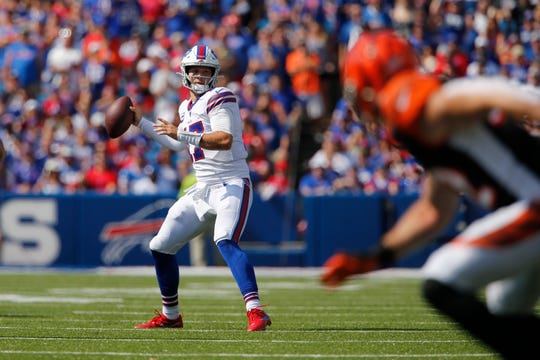 Buffalo Bills quarterback Josh Allen (17) throws a pass during the first half of an NFL football game against the Cincinnati Bengals Sunday, Sept. 22, 2019, in Orchard Park, N.Y. (AP Photo/John Munson)