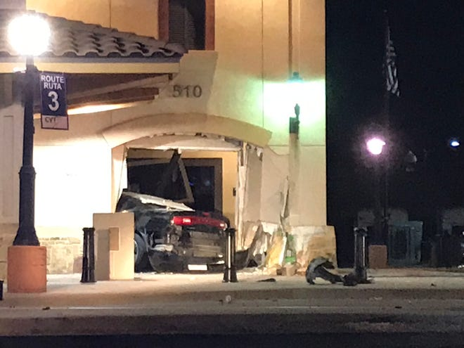 A vehicle slammed into the Concho Valley Transit Building early Sunday morning, Sept. 22, 2019.