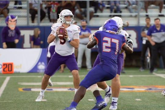 Northwestern State quarterback Shelton Eppler drops back against Houston Baptist.