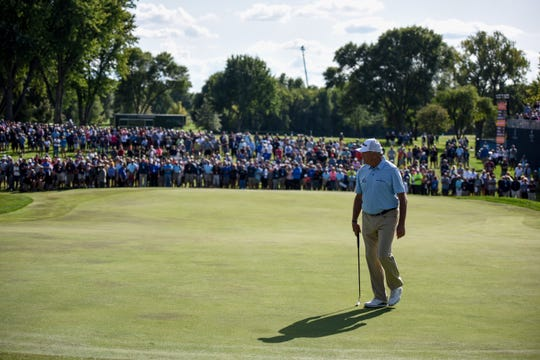 Crowds watch as Ken Duke finshes the final round of the Sanford International on Sunday, Sept. 22, 2019.