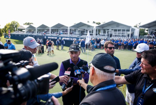 Rocco Mediate addresses the media after winning the Sanford International on Sunday, Sept. 22, 2019.