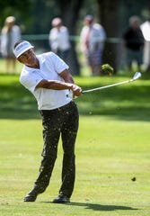 Esteban Toledo hits the ball during the final round of the Sanford International on Sunday, Sept. 22, 2019.