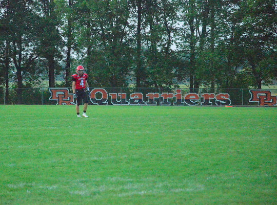 St. Mary player Conor Libis gets ready to return the opening kick on Friday, Sept. 20 as the Cardinals played host to Avon at Dell Rapids public high school, home of the Quarriers.