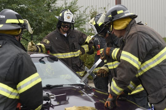 """The St. Cloud Professional Fire Fighters of IAFF Local 1712 host a """"Fire Ops 101"""" program for elected and appointed officials in September 2019. The event helps show officials """"what firefighting is about,"""" according to Dean Wrobbel, chief of the St. Cloud Fire Department."""