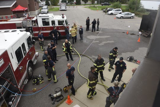 """In this September 2019 file photo the St. Cloud Professional Fire Fighters of IAFF Local 1712 host a """"Fire Ops 101"""" program for elected and appointed officials."""