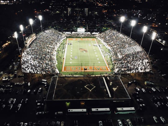 An aerial shot of Bragg Memorial Stadium on Saturday, Sept. 21, 2019. The Rattlers posted a 27-21 win over Southern.