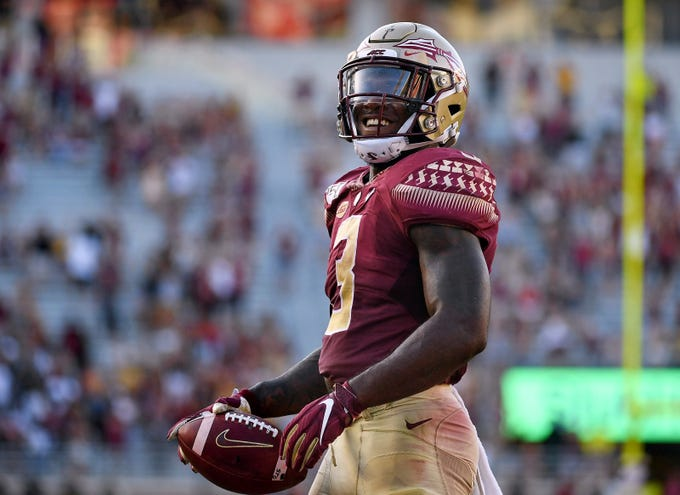 Sep 21, 2019; Tallahassee, FL, USA; Florida State Seminoles running back Cam Akers (3) celebrates after a touchdown against the Louisville Cardinals during the second half at Doak Campbell Stadium. Mandatory Credit: Melina Myers-USA TODAY Sports