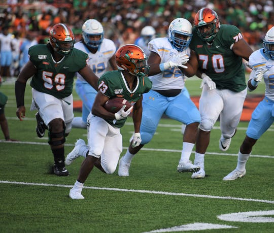 FAMU running back Bishop Bonnett looks burst around the edge versus Southern.