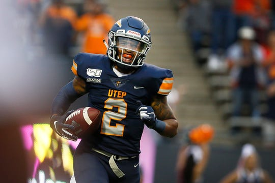 UTEP's MIichael Lewis smiles after a touchdown against Nevada Saturday, Sept. 21, at the Sun Bowl in El Paso.