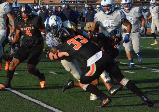 Ventura College safety Travis Calloway makes a tackle against visiting Hancock on Saturday night at the VC Sportsplex. No. 5 VC prevailed, 35-14.