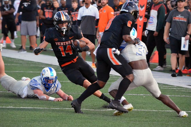 Buena High graduate Juan Gaytan rushed for 170 yards and two TDs on 11 carries and made five tackles on special teams to spark No. 4 Ventura College on Saturday at Palomar College.