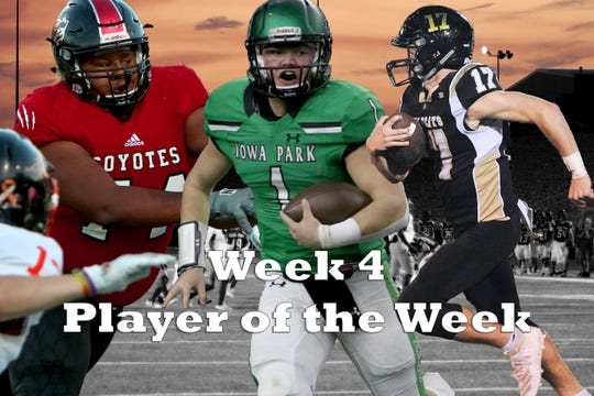 Nominees for Player of the Week are Iowa Park's Trent Green, Archer City's Ty Bates, Wichita Falls High's Robert Blue, Jacksboro's Kenny Perry (not pictured) and Throckmorton's Will Harris (not pictured).