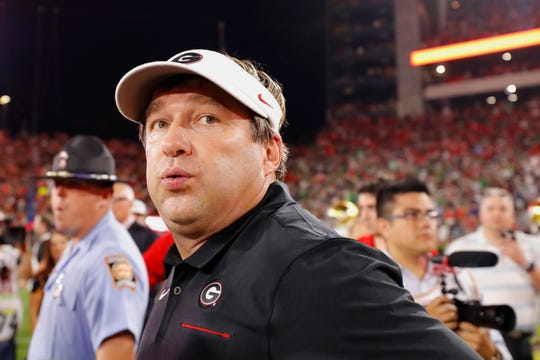 Kirby Smart reacts after Georgia's win over Notre Dame.