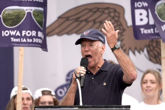 Democratic presidential candidate and former Vice President Joe Biden wears a Beau Biden Foundation hat while speaking at the Polk County Democrats Steak Fry, in Des Moines, Iowa, Saturday, Sept. 21, 2019.
