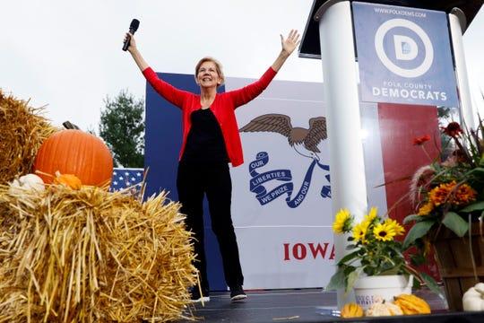 Democratic presidential candidate Sen. Elizabeth Warren speaks at the Polk County Democrats Steak Fry, Saturday, Sept. 21, 2019, in Des Moines, Iowa.