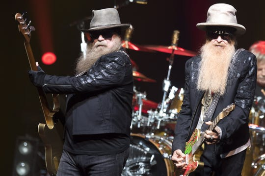 epa07690599 Bass player Dusty Hill (L) and guitarist Billy Gibbons (R) of US rock band ZZ Top perform on the stage of the Auditorium Stravinski during the 53rd Montreux Jazz Festival (MJF), in Montreux, Switzerland, 02 July 2019. The MJF runs from 28 June to 13 July and features 450 concerts.  EPA-EFE/LAURENT GILLIERON   EDITORIAL USE ONLY ORG XMIT: :53469437