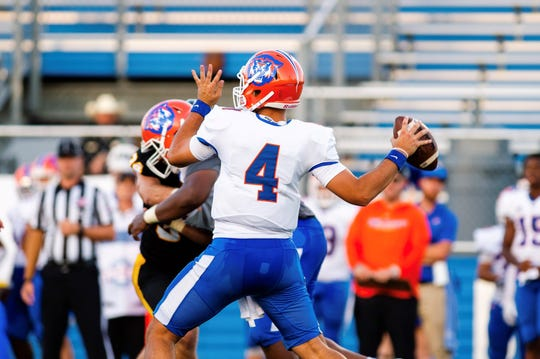 Louisiana College quarterback Sal Palermo (4) attempts to pass Saturday against Southwestern.