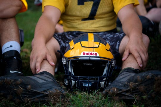 Climax-Scotts senior Blake Borden attends football practice on Monday, Sept. 23, 2019 in Climax, Mich. Borden was born with severe clubfoot, a condition in which his feet were twisted down and inward.