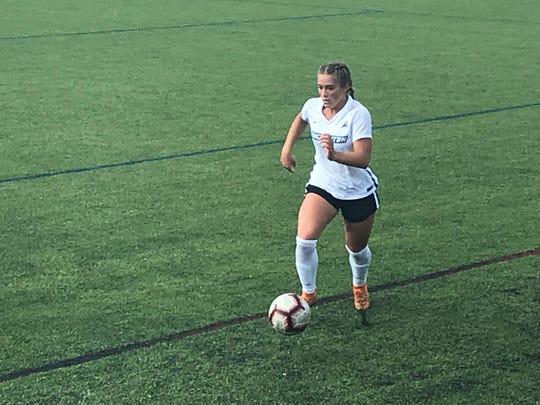 Binghamton University's Olivia McKnight controls the ball Sunday's America East game against visiting Vermont.