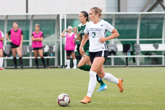 Freshman midfielder Olivia McKnight has played every minute for Binghamton University in eight of the team's 10 games.